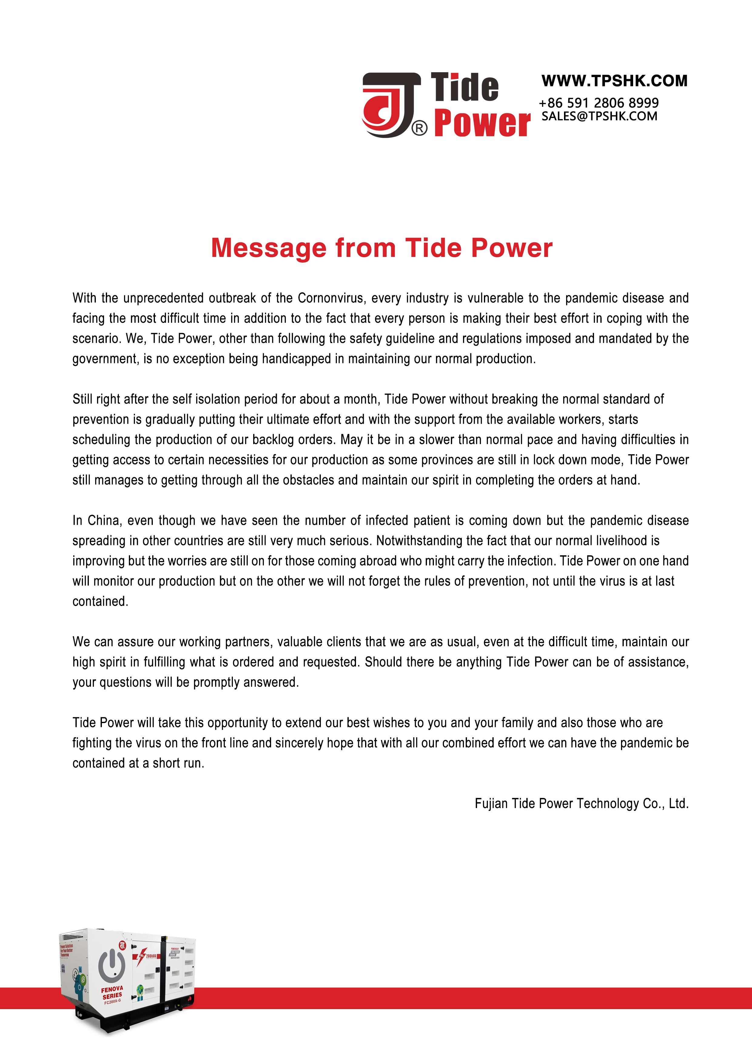 Message de Tide Power